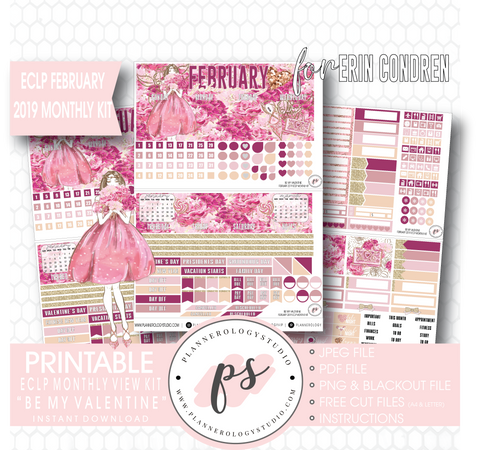 Be My Valentine February 2019 Monthly View Kit Digital Printable Planner Stickers (for use with Erin Condren) - Plannerologystudio