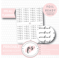 Weekend Script Digital Printable Planner Stickers (Foil Ready)