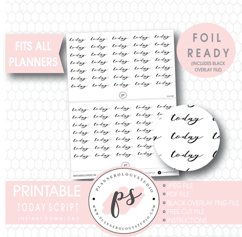 Today Script Digital Printable Planner Stickers (Foil Ready)