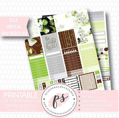 """Zen"" (Yoga) Mini Weekly Kit Printable Planner Stickers (for use with ECLP Vertical) - Plannerologystudio"