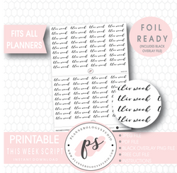 This Week Script Digital Printable Planner Stickers (Foil Ready)