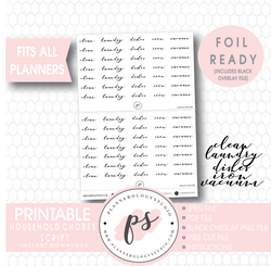 Household Chores (Clean, Laundry, Dishes, Iron, Vacuum) Script Digital Printable Planner Stickers (Foil Ready) - Plannerologystudio