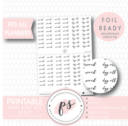 Work & Day Off Script Digital Printable Planner Stickers (Foil Ready) - Plannerologystudio