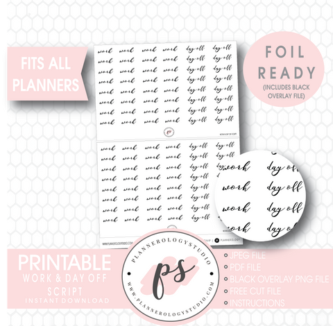 Work & Day Off Script Digital Printable Planner Stickers (Foil Ready)