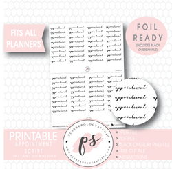 Appointment Script Digital Printable Planner Stickers (Foil Ready) - Plannerologystudio