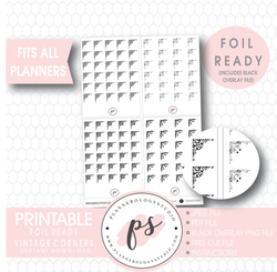Vintage Corners Digital Printable Planner Stickers (Foil Ready)