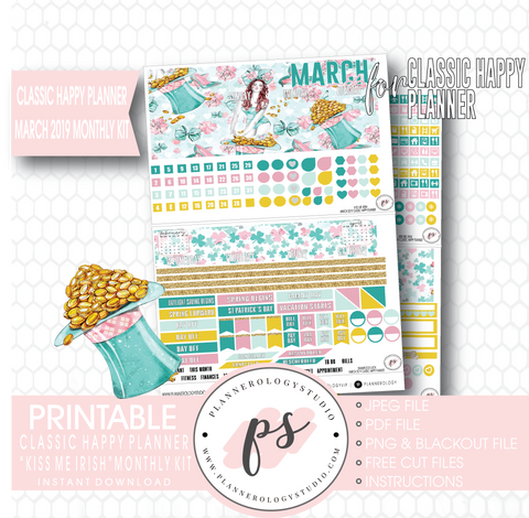 Kiss Me Irish March 2019 Monthly View Kit Digital Printable Planner Stickers (for use with Classic Happy Planner) - Plannerologystudio