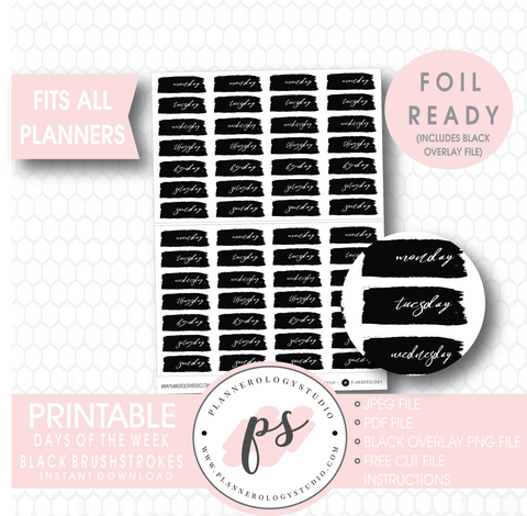 Days of the Week Brushstroke Digital Printable Planner Stickers (Foil Ready) - Plannerologystudio