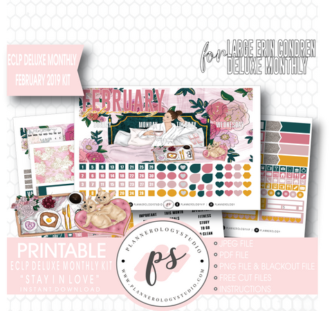 Stay In Love (Valentine's Day) February 2019 Monthly View Kit Digital Printable Planner Stickers (for use with Erin Condren Large Deluxe Monthly Planner)