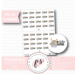 Declutter Clothes (KonMari Inspired) Icon Digital Printable Planner Stickers - Plannerologystudio