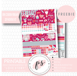 Love Story (Valentine's Day) ECLP Erin Condren February 2019 Monthly Kit Digital Printable Planner Stickers (PDF/JPG/PNG/Cut File Freebie) - Plannerologystudio