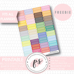 Multicolour Rectangle Quarter Boxes Printable Planner Stickers (Freebie) - Plannerologystudio