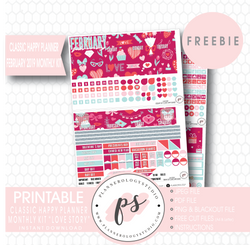 Love Story (Valentine's Day) Classic Happy Planner February 2019 Monthly Kit Digital Printable Planner Stickers (PDF/JPG/PNG/Cut File Freebie) - Plannerologystudio
