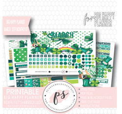 Shamrock Luck (St. Patrick's Day) March 2019 Monthly View Kit Digital Printable Planner Stickers (for use with Big Happy Planner) - Plannerologystudio