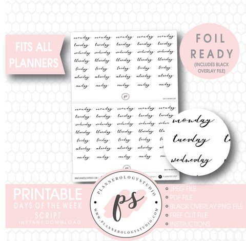 Days of the Week (Monday to Friday) Script Digital Printable Planner Stickers (Foil Ready) - Plannerologystudio