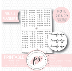 Family Day Script Digital Printable Planner Stickers (Foil Ready) - Plannerologystudio