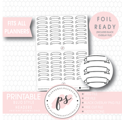 Bujo Bullet Journal Style Headers Digital Printable Planner Stickers (Foil Ready) - Plannerologystudio