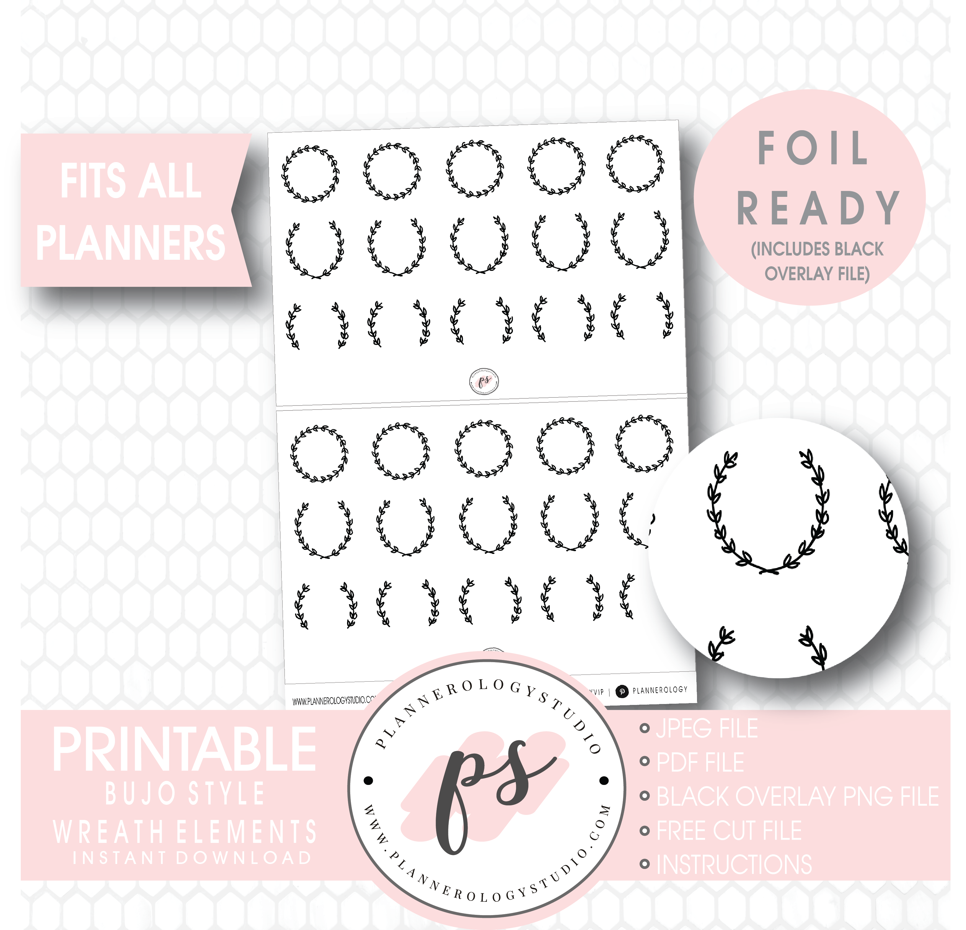 picture regarding Wreath Printable referred to as Attractive Wreath Variables Electronic Printable Planner Stickers (Foil Prepared)