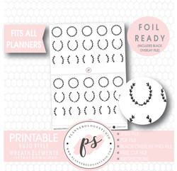 Decorative Wreath Elements Digital Printable Planner Stickers (Foil Ready) - Plannerologystudio