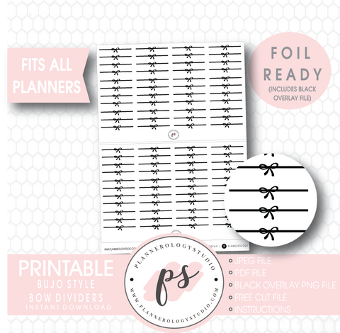 Decorative Bow Divider Digital Printable Planner Stickers (Foil Ready) - Plannerologystudio