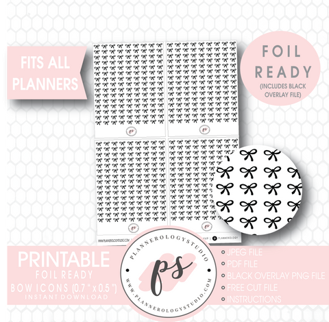 Decorative Bow Icon Digital Printable Planner Stickers (Foil Ready) - Plannerologystudio