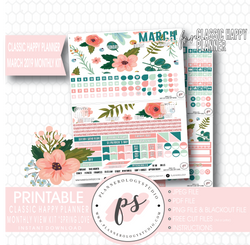 Spring Love March 2019 Monthly View Kit Digital Printable Planner Stickers (for use with Classic Happy Planner)