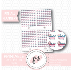 Kawaii Bathtime Icons Digital Printable Planner Stickers - Plannerologystudio
