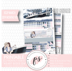 Heart Goes On (Titanic) March 2019 Monthly View Kit Digital Printable Planner Stickers (for use with Erin Condren) - Plannerologystudio