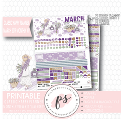Lavender March 2019 Monthly View Kit Digital Printable Planner Stickers (for use with Classic Happy Planner) - Plannerologystudio