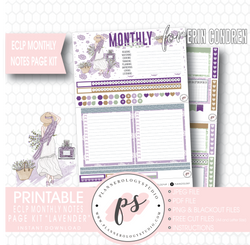 Lavender Monthly Notes Page Kit Digital Printable Planner Stickers (for use with Erin Condren) - Plannerologystudio
