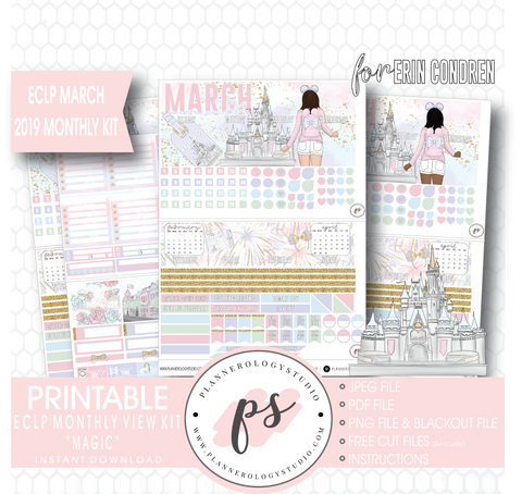 Magic (Disney Inspired) March 2019 Monthly View Kit Digital Printable Planner Stickers (for use with Erin Condren)