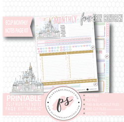 Magic (Disney Inspired) Monthly Notes Page Kit Digital Printable Planner Stickers (for use with Erin Condren)