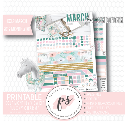 Lucky Charm St Patrick's Day March 2019 Monthly View Kit Digital Printable Planner Stickers (for use with Erin Condren) - Plannerologystudio