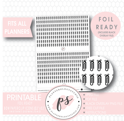 Bow Paperclip Icon Digital Printable Planner Stickers (Foil Ready) - Plannerologystudio