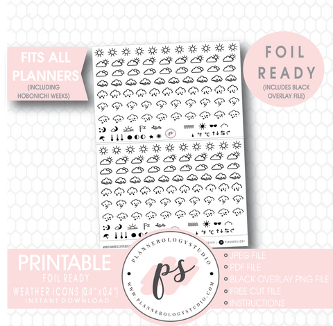 Weather Icon Digital Printable Hobonichi Weeks Planner Stickers (Foil Ready) - Plannerologystudio