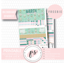 Irish Luck (St. Patrick's Day) ECLP Erin Condren March 2019 Monthly Kit Digital Printable Planner Stickers (PDF/JPG/PNG/Cut File Freebie) - Plannerologystudio