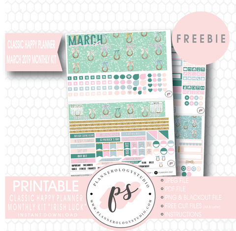 Irish Luck (St. Patrick's Day) Classic Happy Planner March 2019 Monthly Kit Digital Printable Planner Stickers (PDF/JPG/PNG/Cut File Freebie) - Plannerologystudio