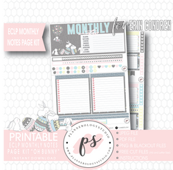 Oh Bunny Easter Monthly Notes Page Kit Digital Printable Planner Stickers (for use with Erin Condren)