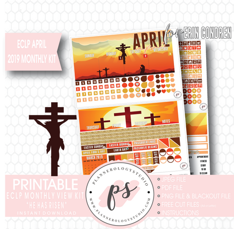 He Has Risen April Easter 2019 Monthly View Kit Digital Printable Planner Stickers (for use with Erin Condren) - Plannerologystudio