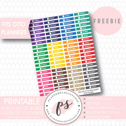 Rainbow Colour Days of the Week Headers Printable Planner Stickers for Otto Planner (Freebie) - Plannerologystudio