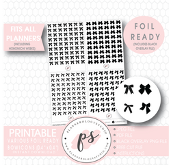 Various Black Bow Icon Digital Printable Hobonichi Weeks Planner Stickers (Foil Ready) - Plannerologystudio