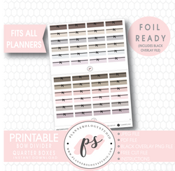 Bow Icon Divider Quarter Boxes Digital Printable Planner Stickers (Foil Ready) - Plannerologystudio