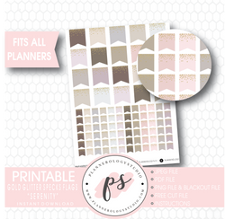 """Serenity"" Gold Glitter Specks Flags Printable Digital Planner Stickers - Plannerologystudio"