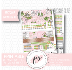 Wild At Heart May 2019 Monthly View Kit Digital Printable Planner Stickers (for use with Carrie Elle Planner) - Plannerologystudio