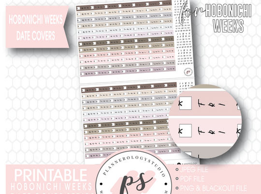 Hobonichi Weeks Date Cover Strips Digital Printable Planner Stickers - Plannerologystudio