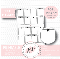 Decorative Bow Double Full Boxes Digital Printable Planner Stickers (Foil Ready) - Plannerologystudio