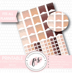 """Mocha"" Silver Glitter Specks Flags Printable Planner Stickers - Plannerologystudio"