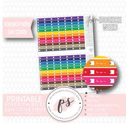 Hobonichi Weeks Rainbow Date Cover Strips Digital Printable Planner Stickers - Plannerologystudio