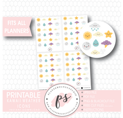 Cute Kawaii Weather Icons Digital Printable Planner Stickers - Plannerologystudio