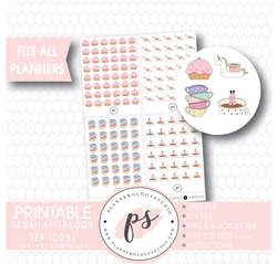 Cute Kawaii Afternoon Tea (Cake, Coffee, Tea) Icons Digital Printable Planner Stickers - Plannerologystudio